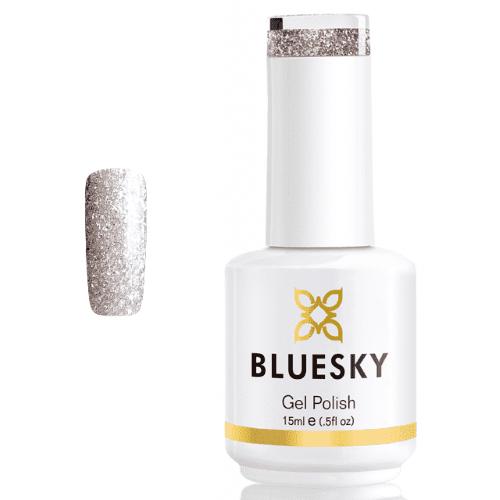 BLUESKY Esmalte Gel PLATINUM 08 GLITTER PLATEADO - DORADO PEQUEÑO