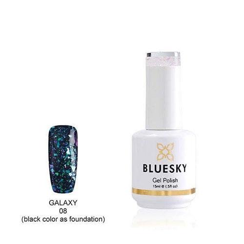 BLUESKY Esmalte Gel Galaxy 08  Esmalte Transparente con Papel metálico tornasol  Turquesa - Morado