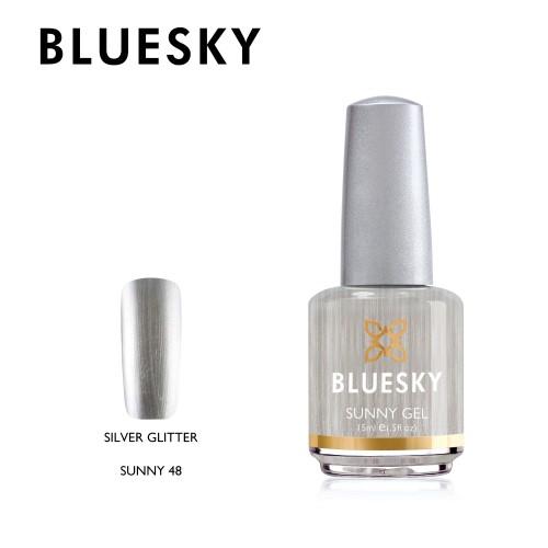 Esmalte tradicional Bluesky - Sunny48 Silver glitter - plateado metálico